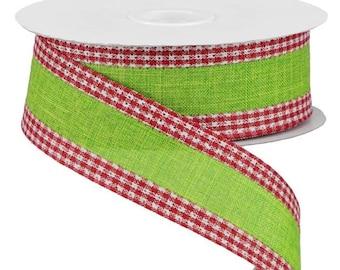 Summer Ribbon 1.5 x 10 yards RGA1098J7 Wired Edge Ribbon Watermelon Decor All Occasion Ribbon Royal Burlap Gingham Edge