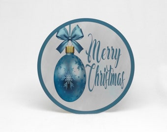 Christmas Sign Christmas Wreath Sign Christmas Wreath Merry Christmas Christmas Ornament Blue and Silver Metal Wreath Sign