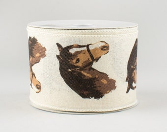 "2-1//2/"" Wired Equine Horses Ribbon Cream//Black"