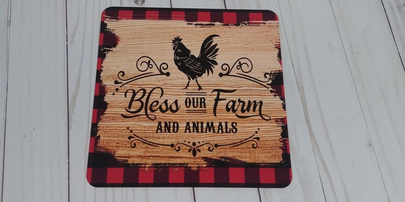 Bless our Farm Rooster decor Metal Wreath Sign Custom sign Farmhouse decor Chicken decor Square