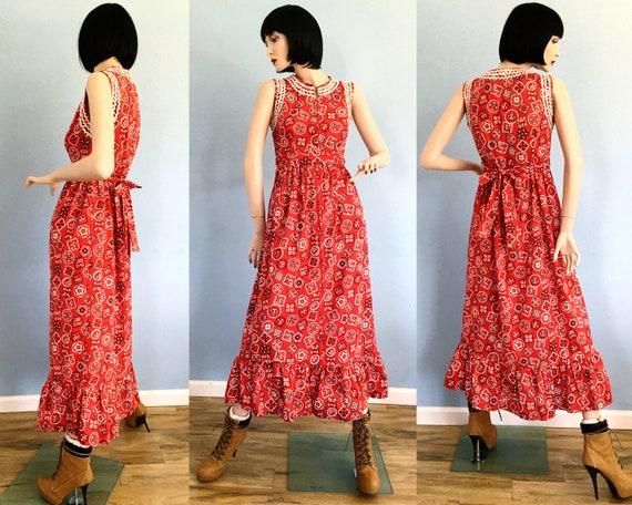 1960s Bandana Print Maxi Dress - Small Medium / Vi