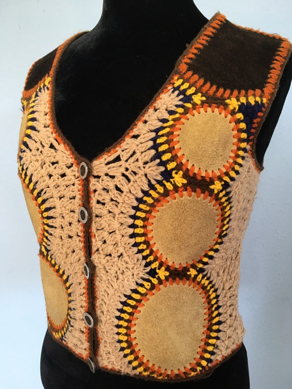 60s 70s Suede & Crochet Sweater Vest by Harpees- … - image 3
