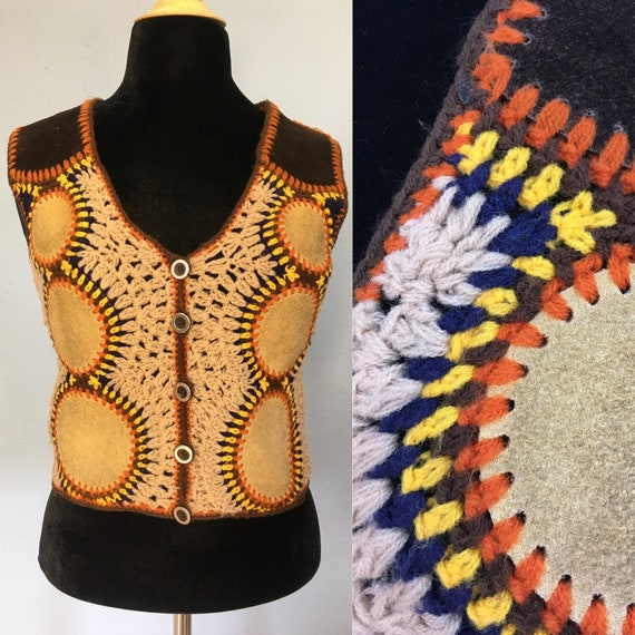 60s 70s Suede & Crochet Sweater Vest by Harpees- … - image 1