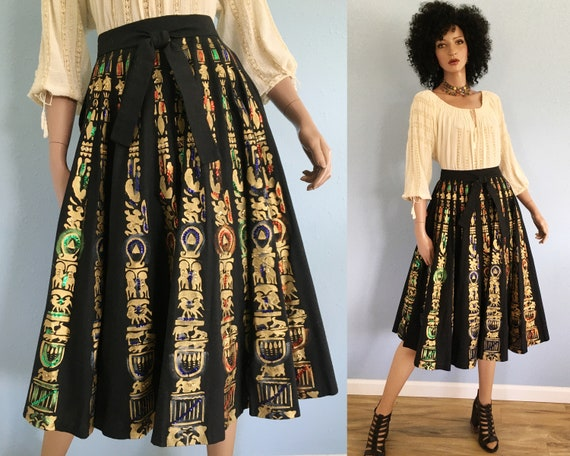 50s Hand Painted Mexican Circle Skirt With Sequins