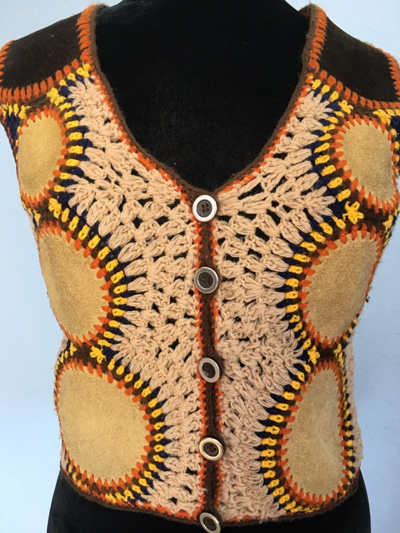 60s 70s Suede & Crochet Sweater Vest by Harpees- … - image 2