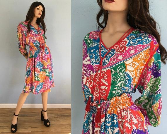 80s Diane Freis Skirt & Blouse - Small Medium / Vi