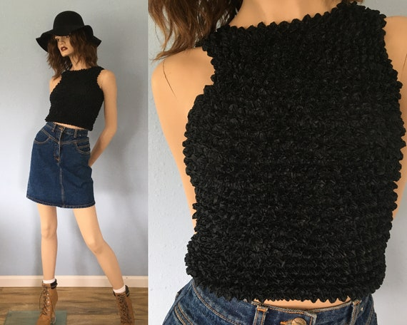 90s Popcorn Stretch Crop Top - One Size / Vintage