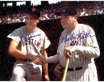 1744e63f7b6 8.5x11 Autographed Signed Reprint RP Photo Picture Print  Babe Ruth and Ted  Williams COLOR shaking hands in baseball uniform