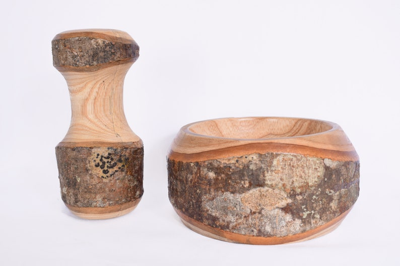 Wooden Hand-Carved Mortar and Pestle