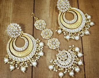 Pearl TikkaKundan Maang TikkaGreen TikkaRed Maang TikkaIndian Gold Plated Jewelry Big Punjabi TikkaPakistani Forehead JewelryTikka
