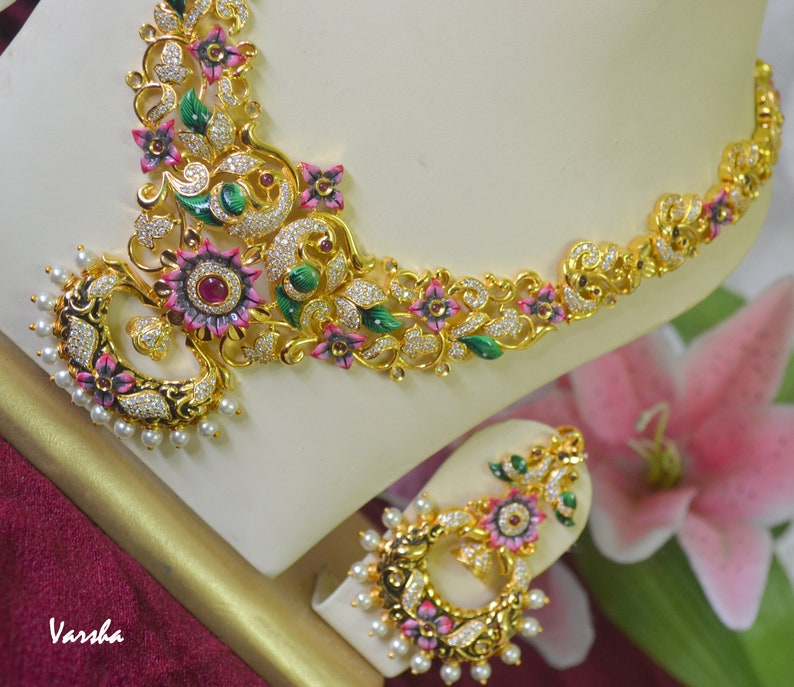 Indian Necklace Earring Set Gold CZ Long Necklace Set Long Necklace Set Peacock Jewelry Indian Bridal Jewelry|Indian Wedding Jewelry