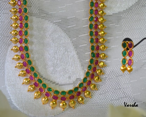 Indian Jewelry Cz Indian Jewellery Indian Long Necklace Etsy