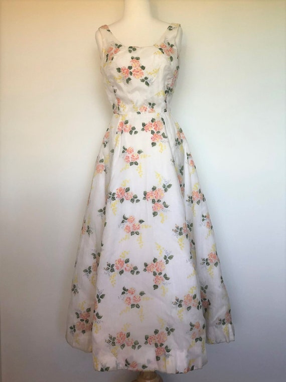 Handmade Vintage 1950's Ball Gown with Floral Embe