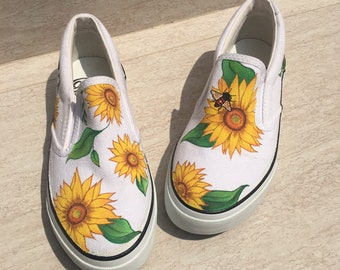 e8f8f3c8601f27 Sunflower and Bee painted shoes