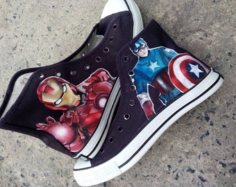 3d5759f0f1359d Captain America Iron Man high top paint shoes