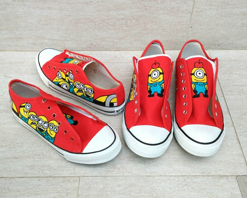 e2b3af87a9858 Disney minion sneaker,Red minions hand painted shoes,Paint sneaker,Paint  Slip-on,Custom Hand Painted,Paint Canvas shoes,Paint kids shoes