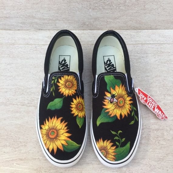 Black Sunflower and Bee painted