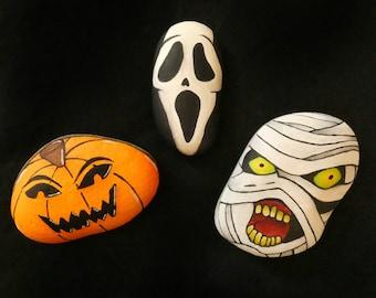 Halloween horror painted rocks