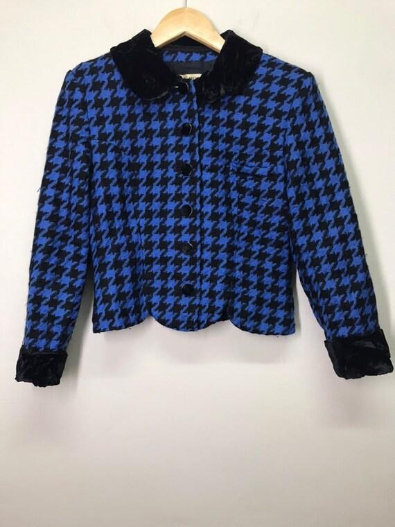 Vintage Hanae Mori Knitwear Crop Top Jacket Velvet