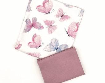 Fabric pack Jersey butterfly dance 0.5 m + cuffs old pink 0.25 m - butterflies