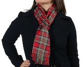 Red and green Royal Stewart tartan scarf pashmina shawl wrap cotton fair trade