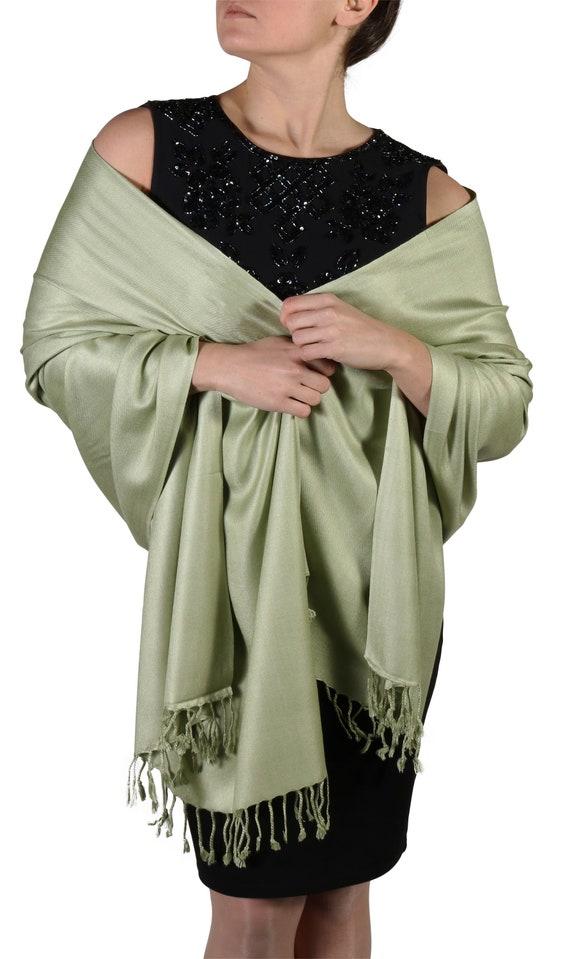 Pashmina Dark Green Wrap Ladies Fair Trade Olive Shawl Large plain Scarf Wedding
