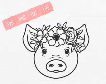 Floral Pig With Flowers SVG Shirt Print