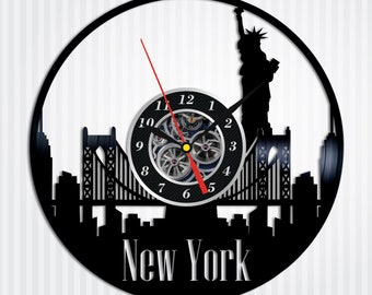 New York City Wall Art Handmade Gift Idea Lp Retro Vinyl Record Clock Modern Birthday For