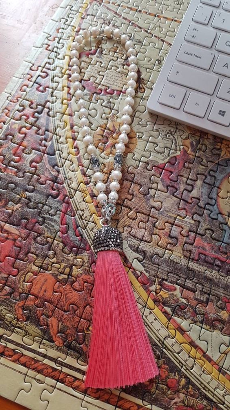Freshwater pearl Worry beads with detachable tassel