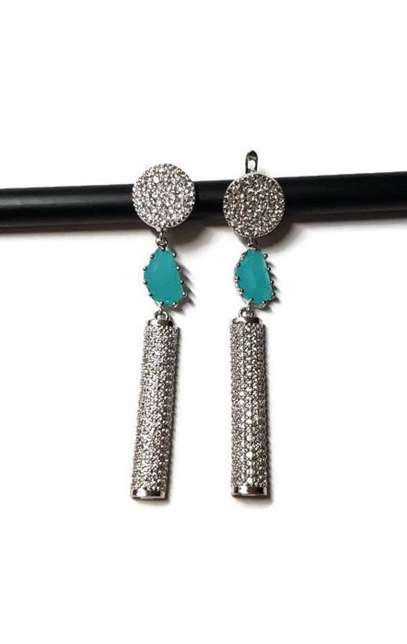 elegant and simple Classic Geometric earrings for ladies CZ silver earrings with Turquoise elements