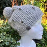 Pure wool knitted hat. Optional beading available.
