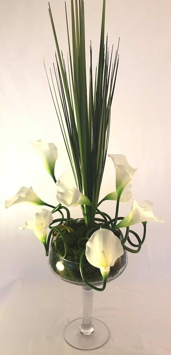 White Calla Lily Arrangement Real Touch Calla Lily Modern Etsy