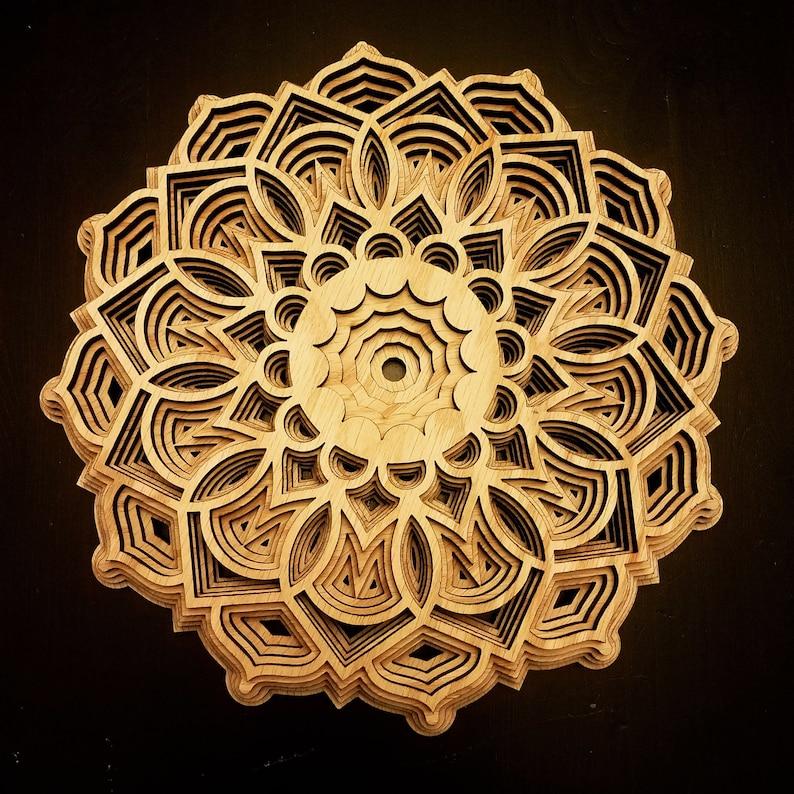 Geometric Layered Laser Cut Oak Wood Mandala Wall Art