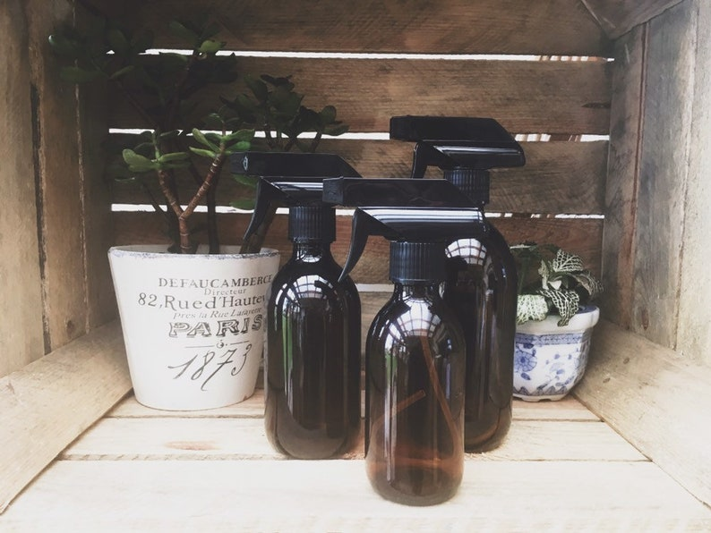 Amber Glass Trigger Spray Bottle Apothecary Style Plant Mister