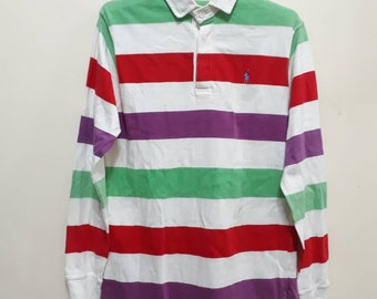 49263d4bd RALPH LAUREN Polo Shirt Striped Neon Colours Small Pony Embroidered Logo  Tops Fashion Brands Designer Rugby Tee Authentic Sz S