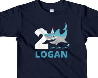f88bad2fe Birthday Shark Shirt for Boys, Boys Shark Shirt, Shark 2nd Birthday Shirt,  Personalized Birthday Shark Shirt for Boys