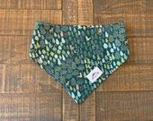 In the woods dog bandana, reversible, personalized, green, red with hearts, dog scarf, neckerchief