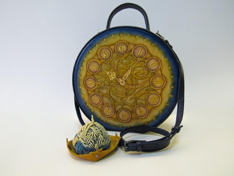Trendy Round leather hand tooled crossbody bag for woman Small boho circle shoulder bag Blue tooled leather purse Mandala bag