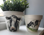 Hand Painted and Decoupaged Cow Farm Animals Terracotta Plant Pot - Perfect Gift For Any Occasion