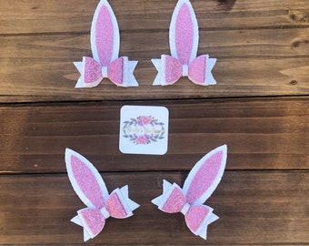 Bunny Ears Hair Bow - Assembled Easter Bow - Rabbit Hair Clip or Headband - Girls/Babies/Toddler Costume and Clothing Dress Up Accessories
