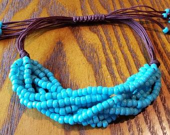Turquoise Seed Bead Adjustable Bracelet