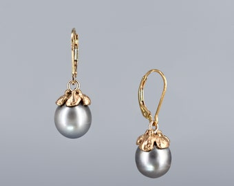 86f59997e Rustic Baroque Tahitian Pearl Earring, 10 mm, Gold filled lever back with  artisan flower cap