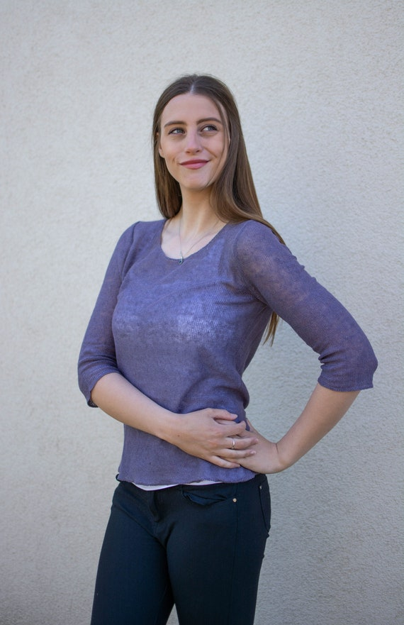 Linen knit sweater Flax knit clothing Women linen pullover Birthday gift premium woman linen knit pullover Linen top