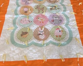 Transportation Quilt Baby Blanket handmade cross stitch