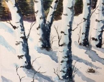 Birch Trees in SnowWinter TreesSnowy WoodsRustic DecorLog Cabin DecorCountry CottageGift for Him