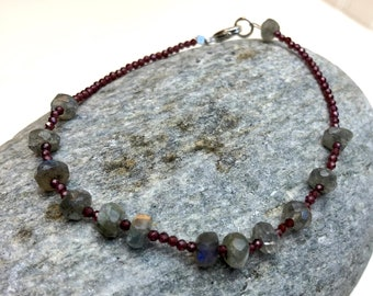 Reiki energy infused teeny tiny natural ruby beaded bracelet with one African bronze bead Delicate and sparkly!
