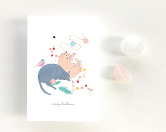 """GREETINGS CARD - Tiny gouache cats - """"Cats - Merry christmas"""""""