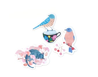 SET of 3 STICKERS -  Birds and sleeping cat