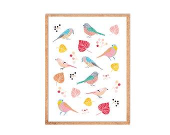 POSTER sweet birds - ART PRINT - Valentine's day gift idea for bird lovers !