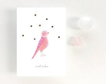 "GREETINGS CARD - Tiny gouache bird - ""Bird - Sweet wishes"""